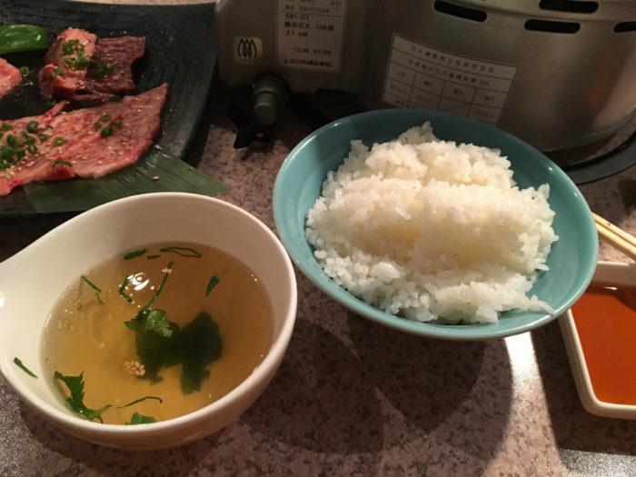 焼肉あいうえお ご飯とスープ