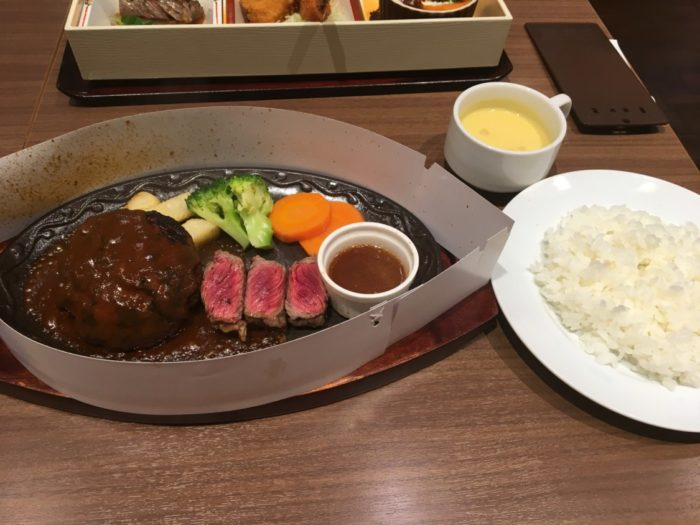 アリオ鳳みつけ亭ビフテキ&ハンバーグセット