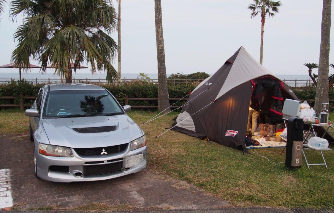 20181107宮崎白浜オートキャンプ場1日目 サイト設営完了