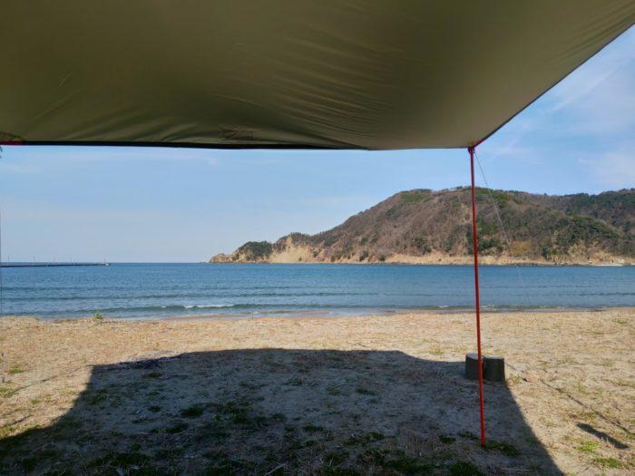 2019-03-09 気比の浜キャンプ場 タープと海