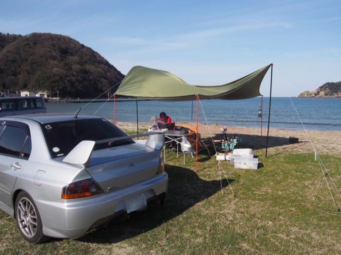 2019-03-09 気比の浜キャンプ場 たわむタープ