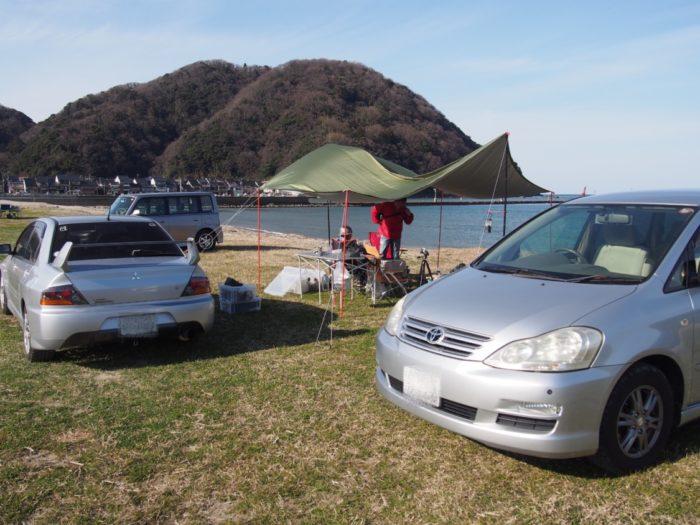 2019-03-09 気比の浜キャンプ場 車中泊セッティング