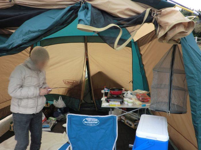 南淡路シーサイドキャンプ場 スクリーンタープ内