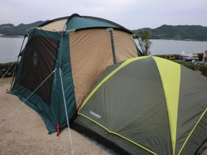 南淡路シーサイドキャンプ場 タープとテント連結
