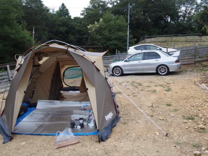 犬山キャンプ場 広いドッグフリーサイト