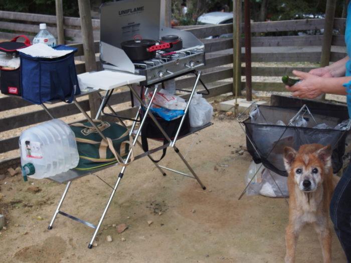 犬山キャンプ場 晩ごはんの準備中