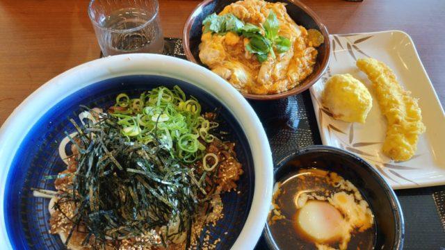丸亀製麺堺浜寺 肉つけうどんとミニ親子丼と天ぷら
