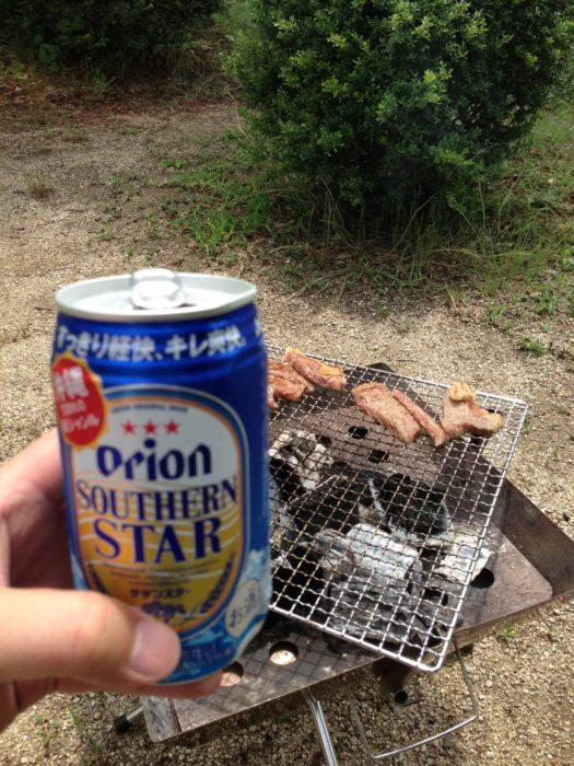 紀州加太オートキャンプ場 オリオンビールで乾杯