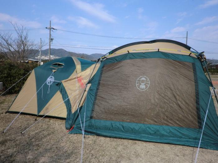 20130112じゃのひれ テントとタープ連結