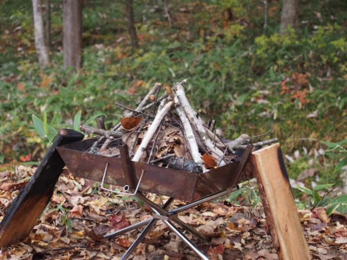 高ソメキャンプ場 焚き火の準備