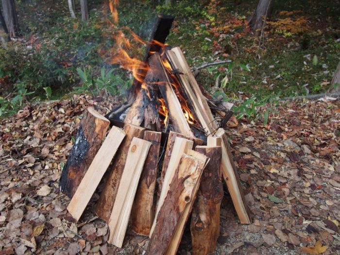 高ソメキャンプ場 焚き火