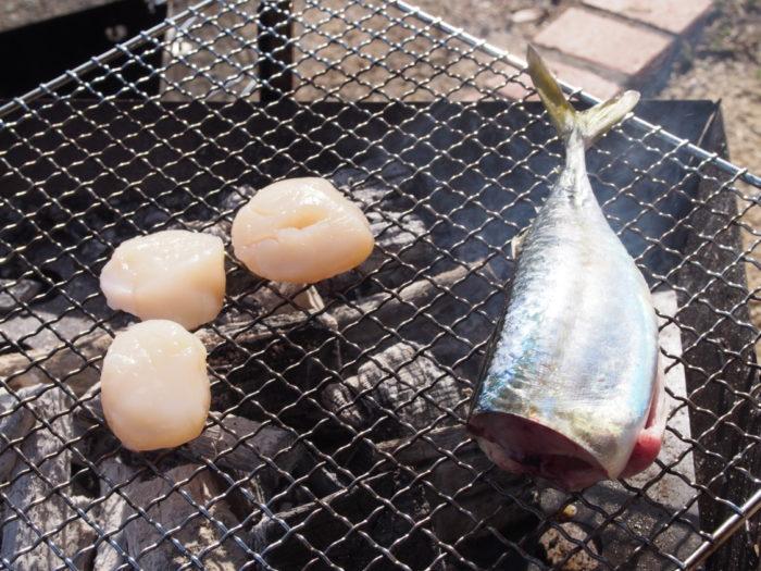 南淡路シーサイドキャンプ場 釣れたサバを炭火焼き