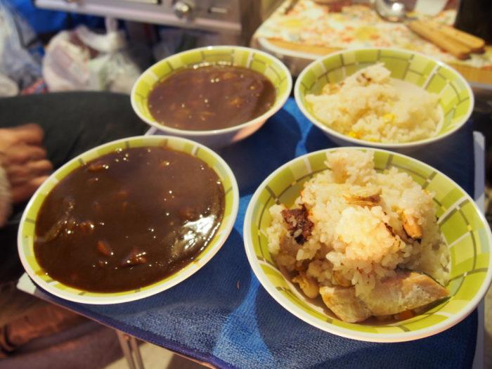 南淡路シーサイドキャンプ場 炊き込みご飯とシチュー