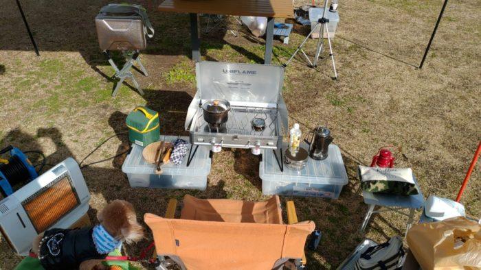 2020-01-18野口オートキャンプ場 ツーバーナーセッティング