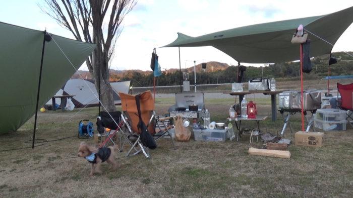 2020-01-18野口オートキャンプ場 風よけのタープ