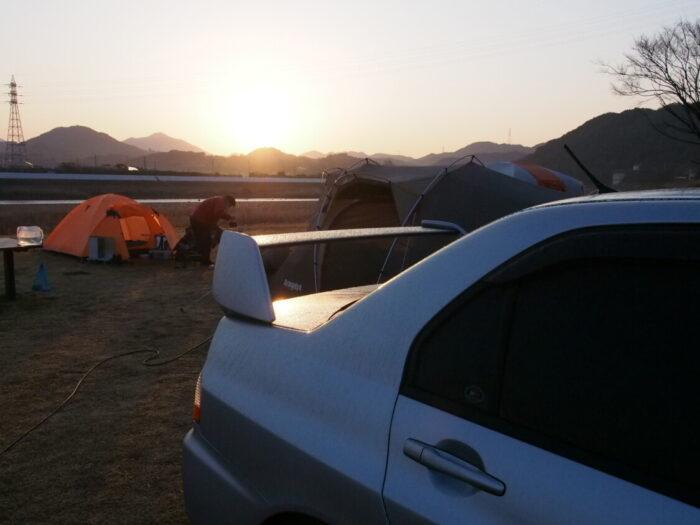 野口オートキャンプ場 ランエボのリアウィング