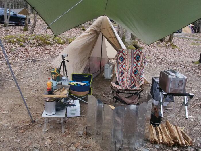 奥琵琶湖キャンプ場 サイト設営